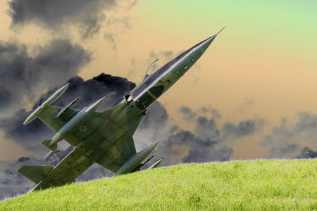 fighter jet pop art Stock Photo