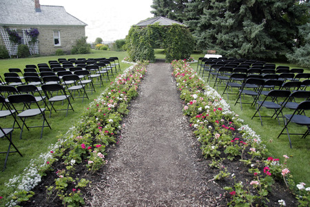convention: Empty chairs on a garden party