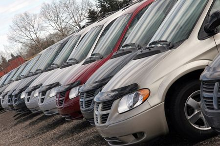 Line of minivans