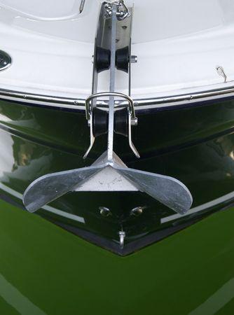 Green boat close up