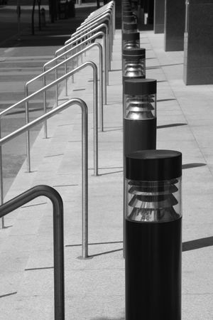 handrails: Handrails, lamps and staircase Stock Photo