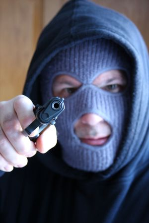 At gunpoint Stock Photo