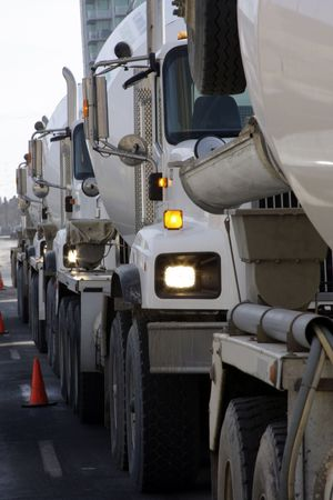 Cement trucks line up Stock Photo