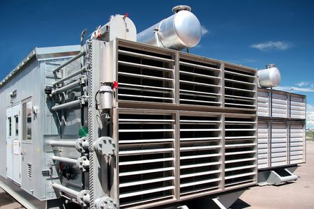 Cooler of a compressor station Stock Photo