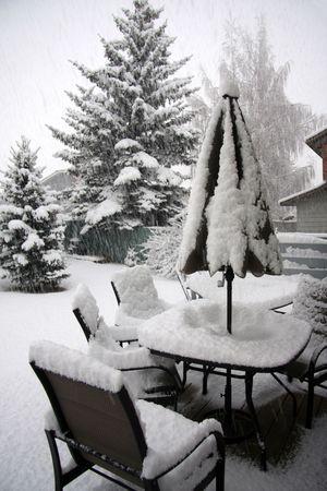 Winter  backyard Stock Photo