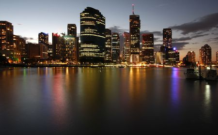 down lights: Brisbane by the river Stock Photo
