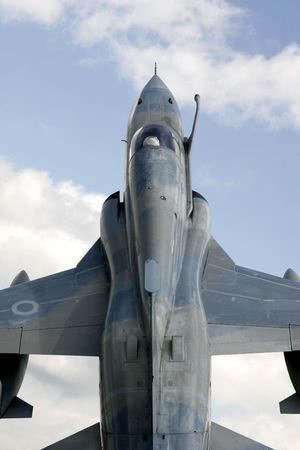 Top view of a fighter jet in midflight Stock Photo - 3686677