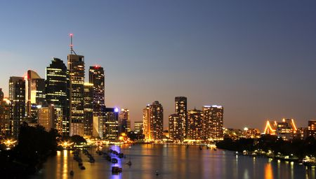 Brisbane Australia by the river  Night Stock Photo - 4157388