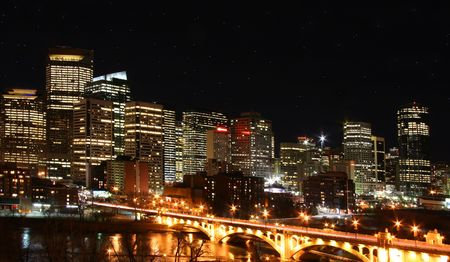 Nightscape of Calgary  canada Stock Photo