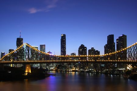 queensland: City of Brisbane by night  Australai