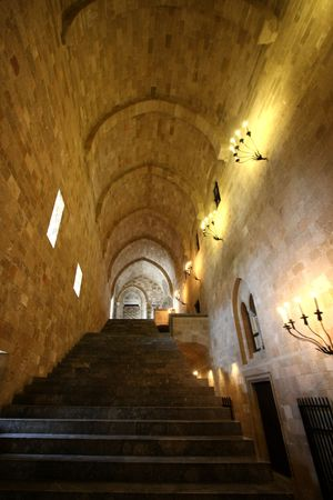 Interior of medieval castle Rhodes island photo