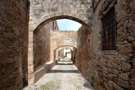Walking in medieval Rhodes island  Archivio Fotografico