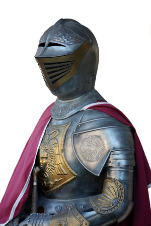 プレート: 白で隔離される装甲中世の騎士騎士の鎧 写真素材