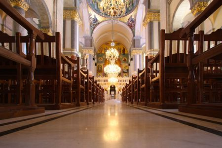 Interior of Greek orthodox Church  Editorial