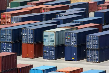container port: Stacks of  sea containers in an international port container shipping