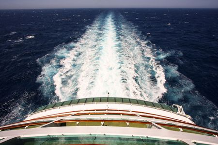 Sailing, Rear deck of a cruise ship with view