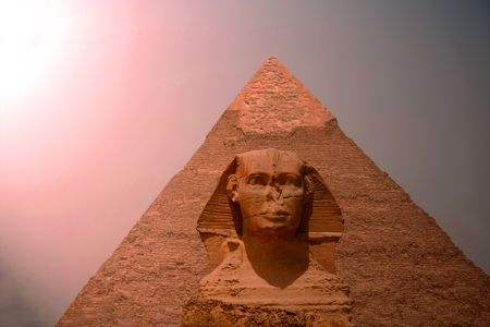 The great Pyramid  in sunset photo