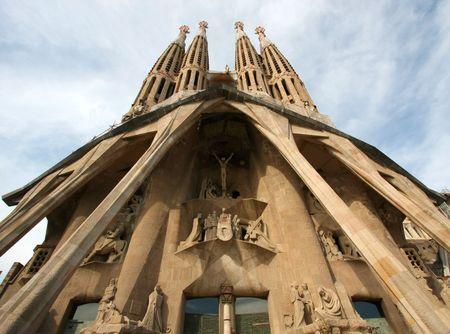Facade of Sagrada Familia in  Barcelona Spain