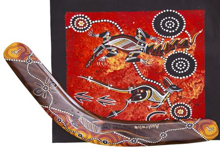 style: Austarlian aboriginal style design with boomerang