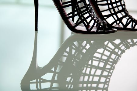 Modern fashion Black high heel, on reflective background Reklamní fotografie - 6511833
