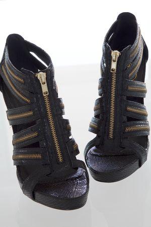 Modern fashion Black high heel, on reflective background  Reklamní fotografie