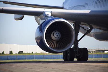 Jet engine of airplane
