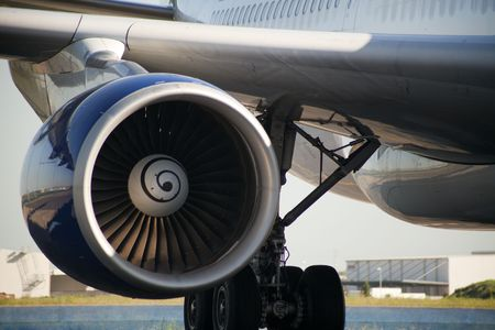 Close up of turbojet of aircraft  photo