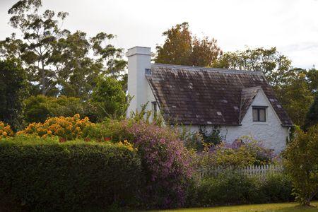 english village: traditional British   cottage