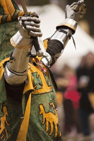 medieval swords: Caballero con una espada  Foto de archivo