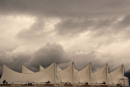 repetition: The roof of Canada Place. Downtown Vancouver. Canada