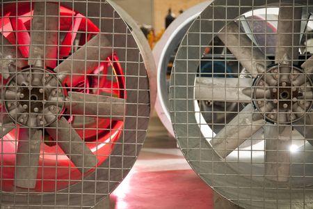 쇠 격자: Industrial fans side by side with a metal grate,  스톡 사진