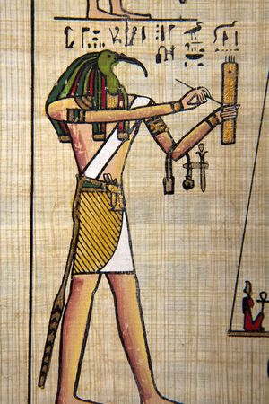 scribes: Papyrus with egyptian ancient images.