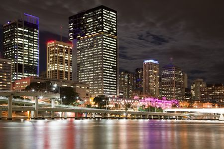 Brisbane night city view, Queensland Australia