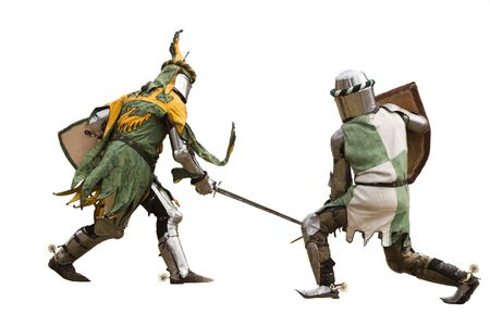 spear: Two knights fighting  Isolated