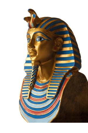 ancient relics: Golden pharaoh bust isolated on white  Stock Photo