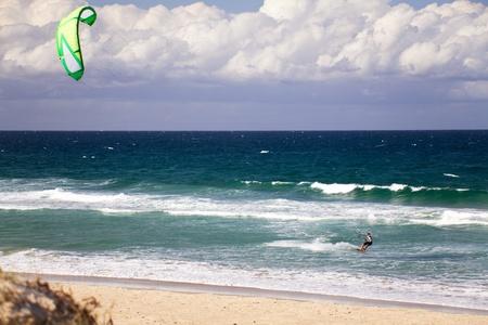 kiter: Kitesurfer in action Stock Photo