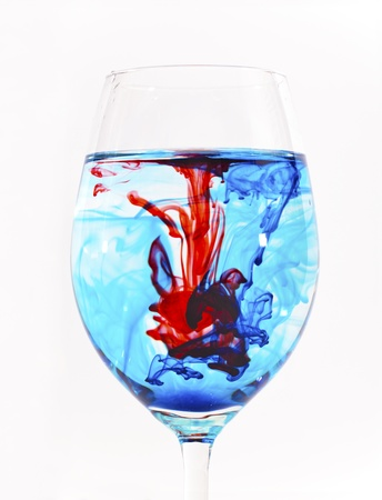 Mixed color liquid in glass