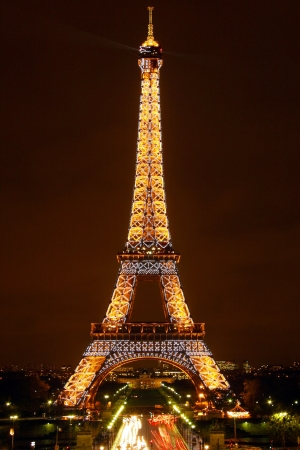 ironwork: Eiffel tower by Night (Editorial use only)