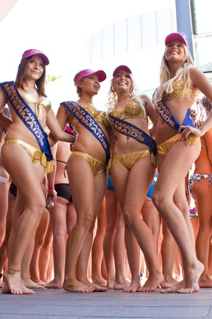 GOLD COAST, AUSTRALIA - OCTOBER 2: Unidentified participants marches in successful Guinness World Record longest bikini parade on October 2, 2011 in Gold Coast, Queensland, Australia. The record is now 357 women in bikinis.