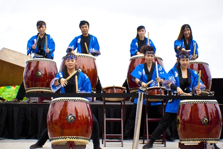 Group of women drumming during  Japan and Friends in Surfer Paradise Australia  Street festival  2012 March Australia Stock Photo - 13061996