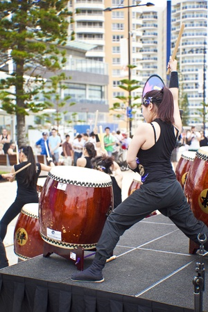 Group of women drumming during  Japan and Friends in Surfer Paradise Australia  Street festival  2012 March Australia Stock Photo - 13062001
