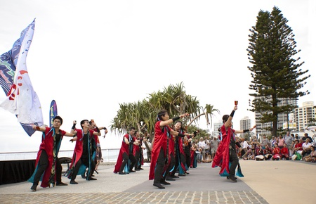 Group of dancers dancing during  Japan and Friends in Surfer Paradise Australia  Street festival Stock Photo - 13061992
