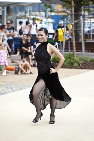 A coupl  of dancers dancing during  Japan and Friends in Surfer Paradise Australia  Street festival