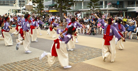 Group of dancers dancing during  Japan and Friends in Surfer Paradise Australia  Street festival Stock Photo - 13061997