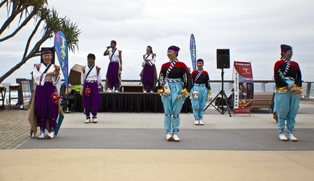 Group of dancers dancing during  Japan and Friends in Surfer Paradise Australia  Street festival Stock Photo - 13061975