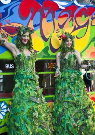 GOLD COAST, AUSTRALIA - Jun  Two Unkwon Ladies dressed as tree -  performs at the  festival on Jun 2012  Gold Coast Australia