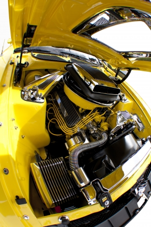 Car engine under the open hood Stock Photo - 15467346