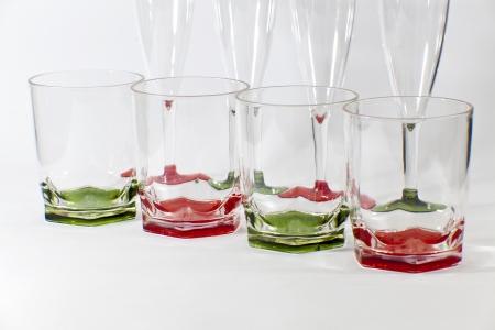 Empty wine glasses isolated on white background  photo