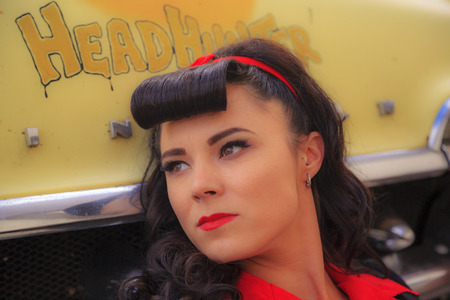 THORNCLIFF CALGARY CANADA, SEPT 13 2014: The annual Show and Shine with Pin Up Girls  Cars before 1964  was a great success. Not just great vehicles, models but also  live music brig the 60