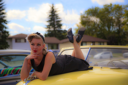 THORNCLIFF CALGARY CANADA, SEPT 13 2014: The annual Show and Shine with Pin Up Girls  Cars before 1964  was a great success. Not just great vehicles, models but also  live music brig the 60 back.. Editorial